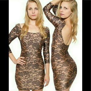 American Apparel Nude Lace Nylon Dress